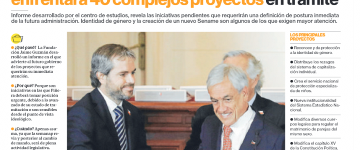 Fundación Jaime Guzmán advierte que Piñera enfrentará 40 complejos proyectos en trámite