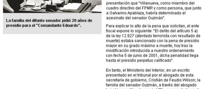 CDE pidió presidio perpetuo calificado para los autores del crimen de Jaime Guzmán