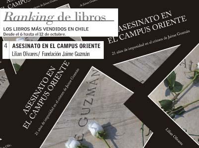 ASESINATO EN EL CAMPUS ORIENTE EN EL CUARTO LUGAR DE LOS LIBROS MÁS VENDIDOS